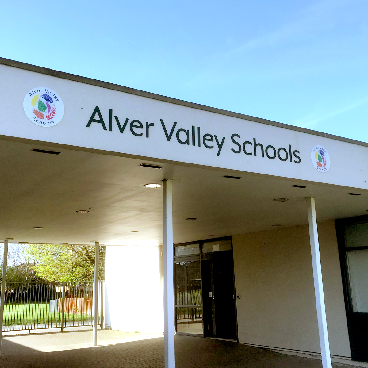 Logo and front signage for Alver Valley Schools, Gosport