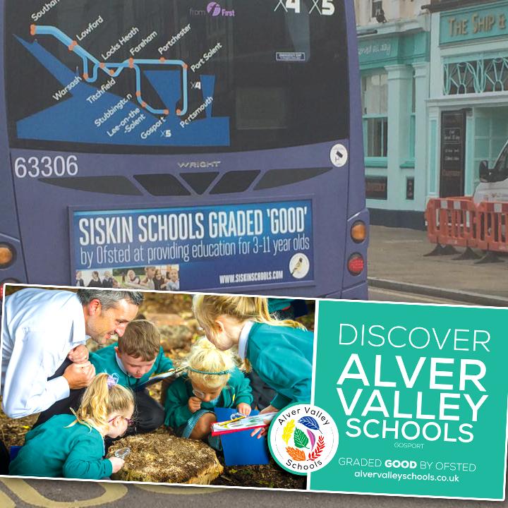 Bus signage for Alver Valley Schools